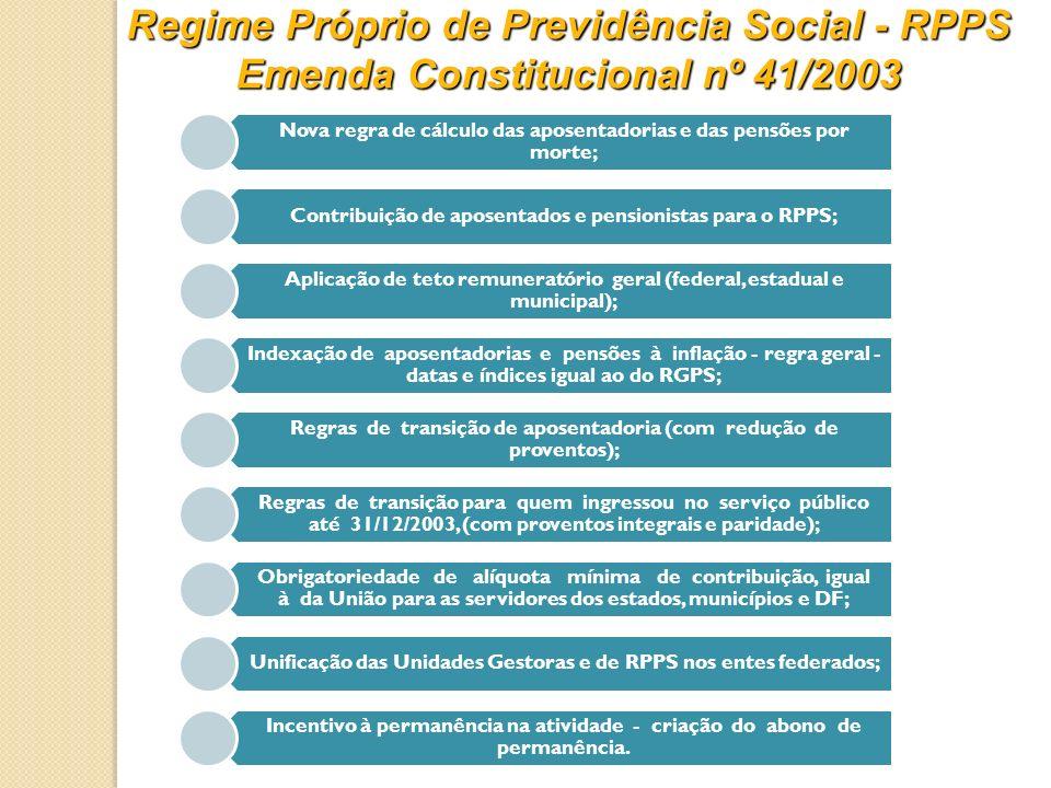 Regime Próprio de Previdência Social - RPPS Emenda Constitucional nº 41/2003 Nova regra de cálculo das aposentadorias e das pensões por morte; Contrib