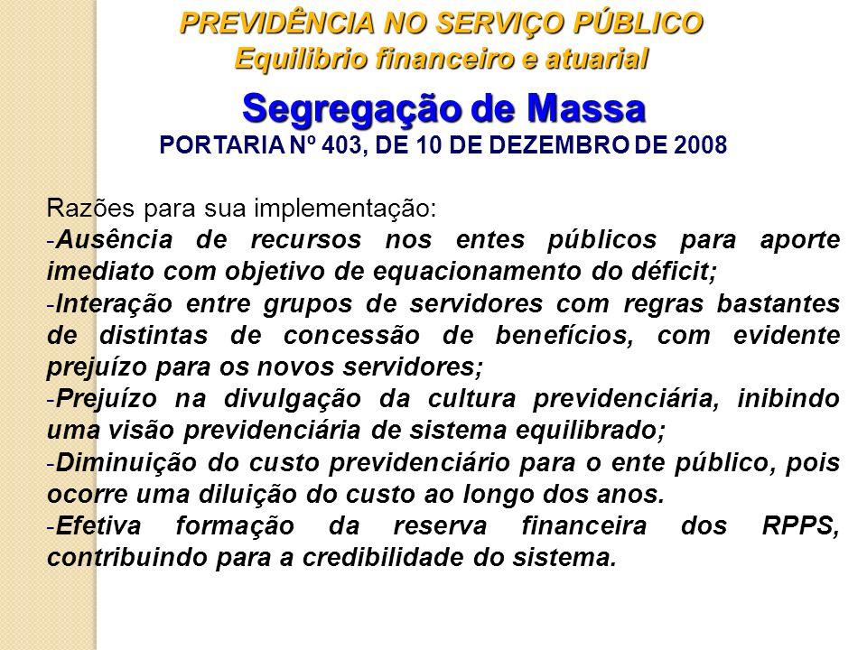 PREVIDÊNCIA NO SERVIÇO PÚBLICO Equilibrio financeiro e atuarial Segregação de Massa PORTARIA Nº 403, DE 10 DE DEZEMBRO DE 2008 Razões para sua impleme