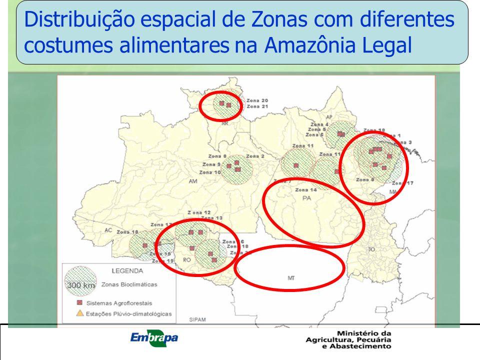 Abrangência da Operação Arco Verde e a Diversidade Amazônica Distribuição espacial de Zonas com diferentes costumes alimentares na Amazônia Legal