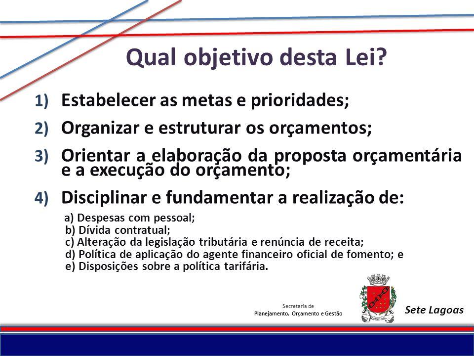Secretaria de Planejamento, Orçamento e Gestão Sete Lagoas Qual objetivo desta Lei? 1) Estabelecer as metas e prioridades; 2) Organizar e estruturar o