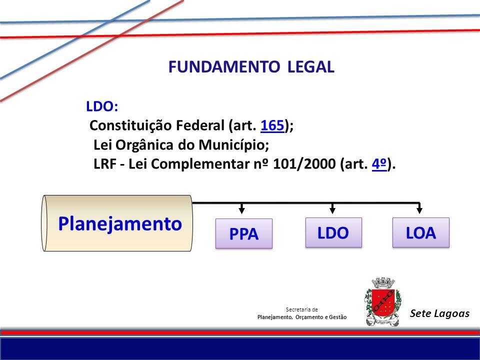 Secretaria de Planejamento, Orçamento e Gestão Sete Lagoas LDO: Constituição Federal (art. 165);165 Lei Orgânica do Município; LRF - Lei Complementar
