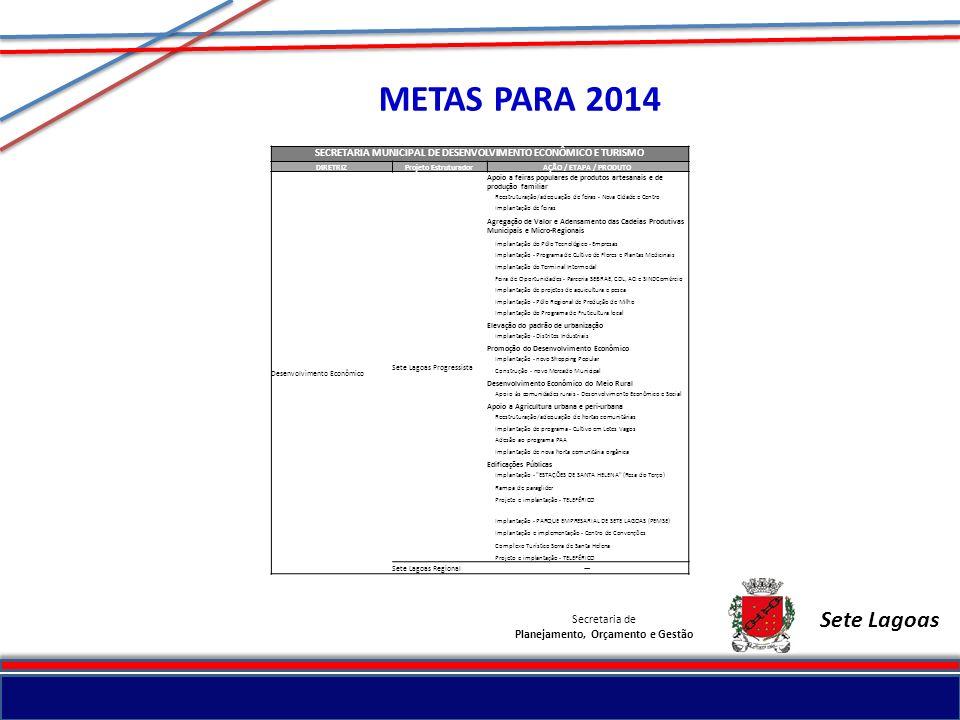 Secretaria de Planejamento, Orçamento e Gestão Sete Lagoas METAS PARA 2014 SECRETARIA MUNICIPAL DE DESENVOLVIMENTO ECONÔMICO E TURISMO DIRETRIZProjeto