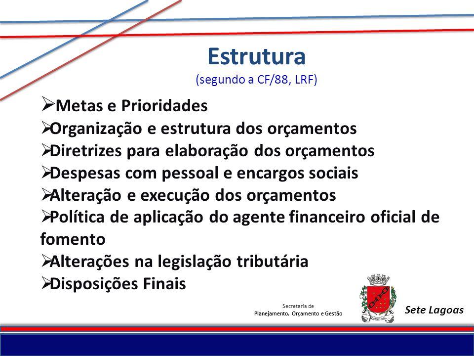 Secretaria de Planejamento, Orçamento e Gestão Sete Lagoas Estrutura (segundo a CF/88, LRF) Metas e Prioridades Organização e estrutura dos orçamentos