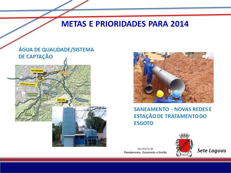 Secretaria de Planejamento, Orçamento e Gestão Sete Lagoas METAS E PRIORIDADES PARA 2014 SANEAMENTO - NOVAS REDES E ESTAÇÃO DE TRATAMENTO DO ESGOTO ÁG