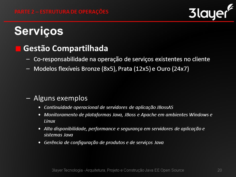Gestão Compartilhada –Co-responsabilidade na operação de serviços existentes no cliente –Modelos flexíveis Bronze (8x5), Prata (12x5) e Ouro (24x7) –A