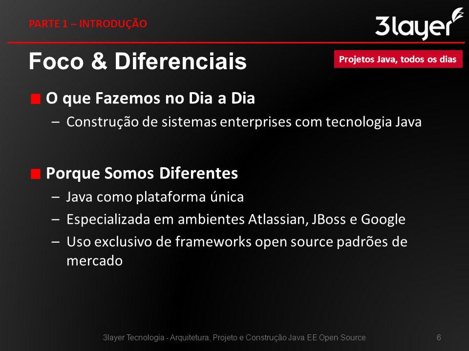 Foco & Diferenciais O que Fazemos no Dia a Dia –Construção de sistemas enterprises com tecnologia Java Porque Somos Diferentes –Java como plataforma ú
