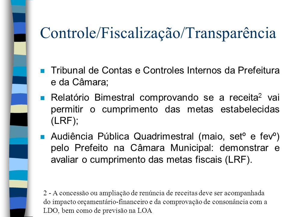 Controle/Fiscalização/Transparência n Tribunal de Contas e Controles Internos da Prefeitura e da Câmara; n Relatório Bimestral comprovando se a receit