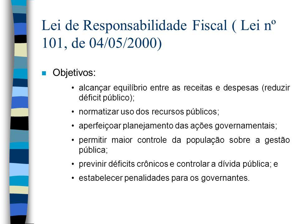 Lei de Responsabilidade Fiscal ( Lei nº 101, de 04/05/2000) n Objetivos: alcançar equilíbrio entre as receitas e despesas (reduzir déficit público); n