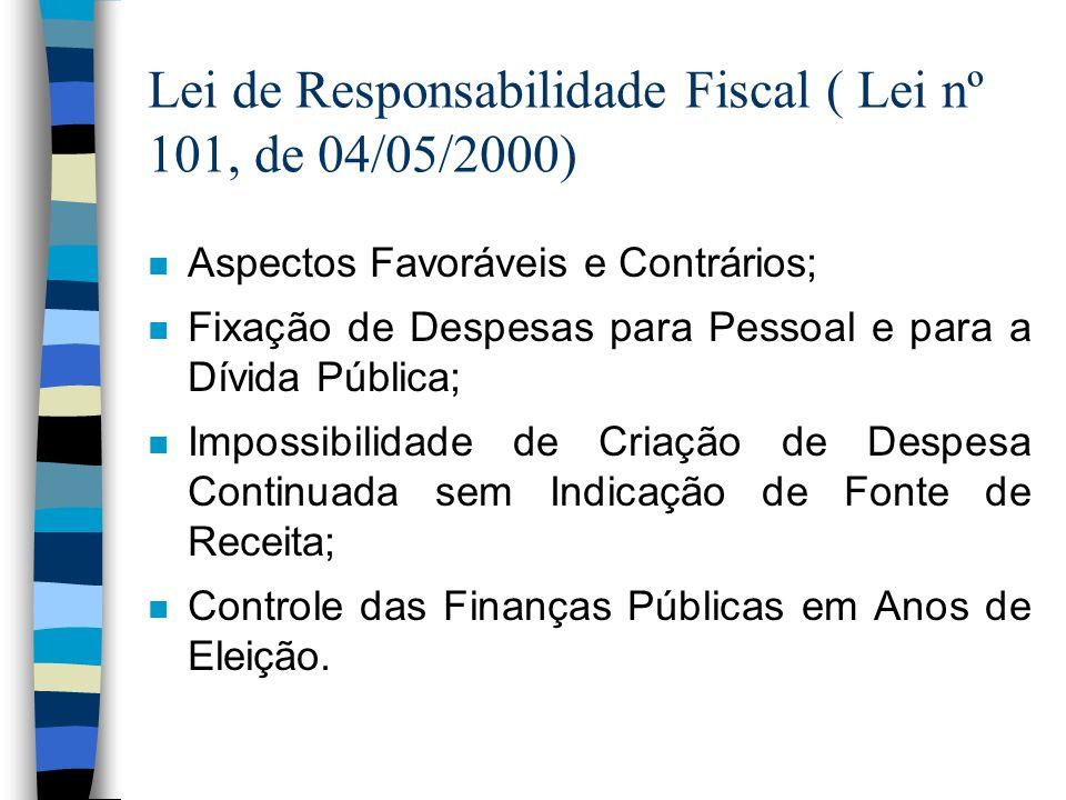 Lei de Responsabilidade Fiscal ( Lei nº 101, de 04/05/2000) n Aspectos Favoráveis e Contrários; n Fixação de Despesas para Pessoal e para a Dívida Púb
