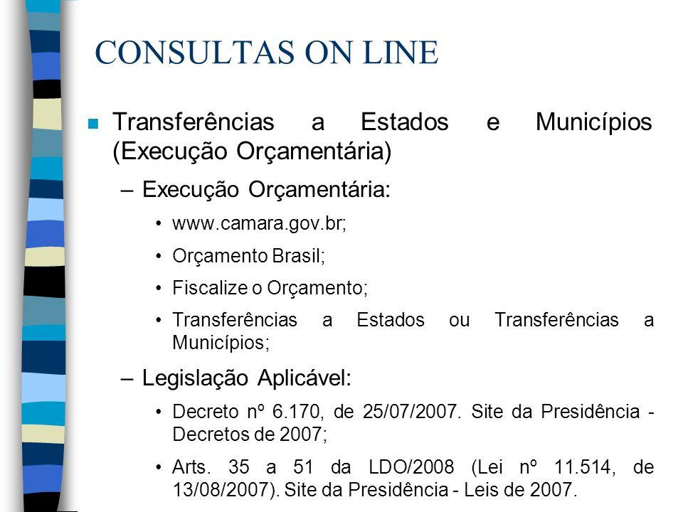 CONSULTAS ON LINE n Transferências a Estados e Municípios (Execução Orçamentária) –Execução Orçamentária: www.camara.gov.br; Orçamento Brasil; Fiscali