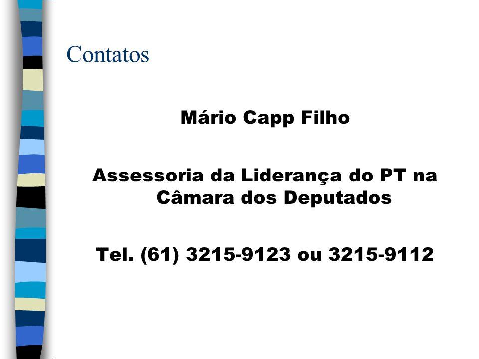 Contatos Mário Capp Filho Assessoria da Liderança do PT na Câmara dos Deputados Tel. (61) 3215-9123 ou 3215-9112