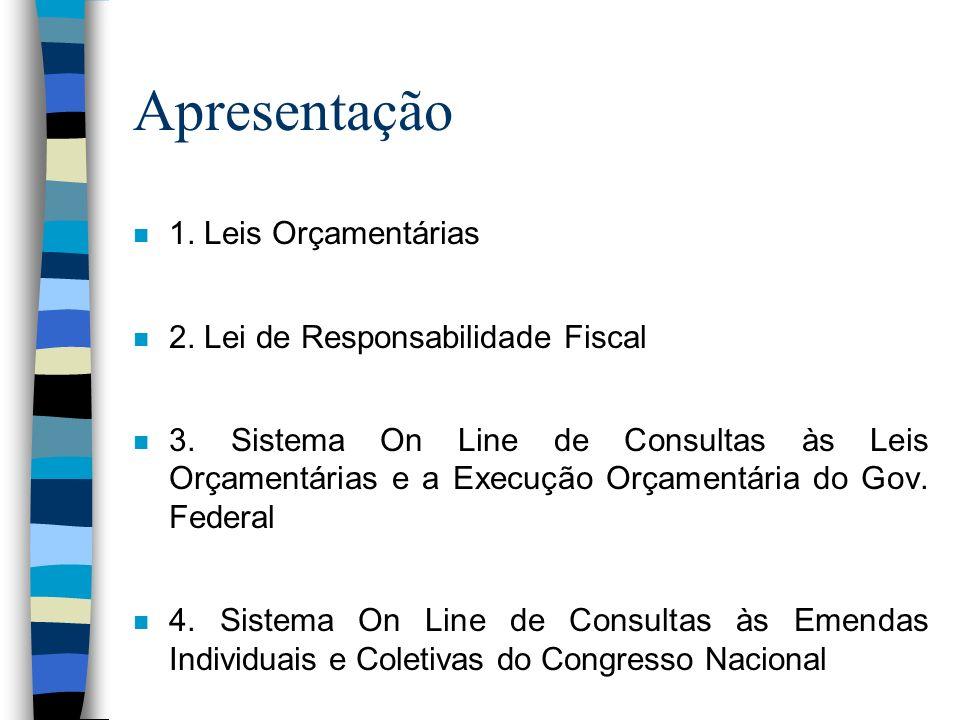 Apresentação n 1. Leis Orçamentárias n 2. Lei de Responsabilidade Fiscal n 3. Sistema On Line de Consultas às Leis Orçamentárias e a Execução Orçament