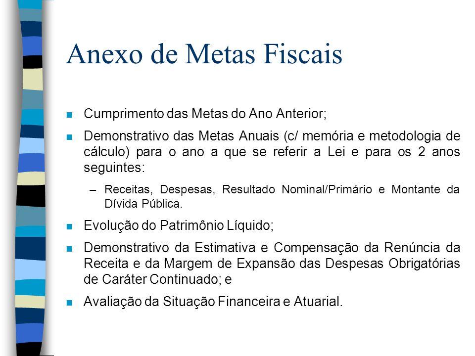 Anexo de Metas Fiscais n Cumprimento das Metas do Ano Anterior; n Demonstrativo das Metas Anuais (c/ memória e metodologia de cálculo) para o ano a qu