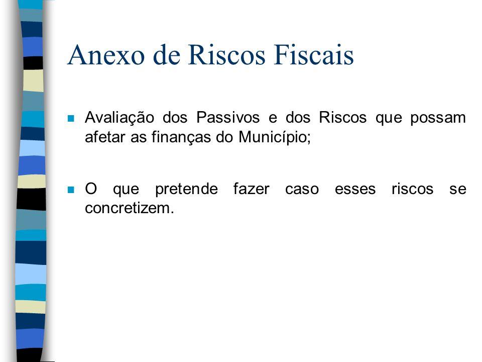 Anexo de Riscos Fiscais n Avaliação dos Passivos e dos Riscos que possam afetar as finanças do Município; n O que pretende fazer caso esses riscos se