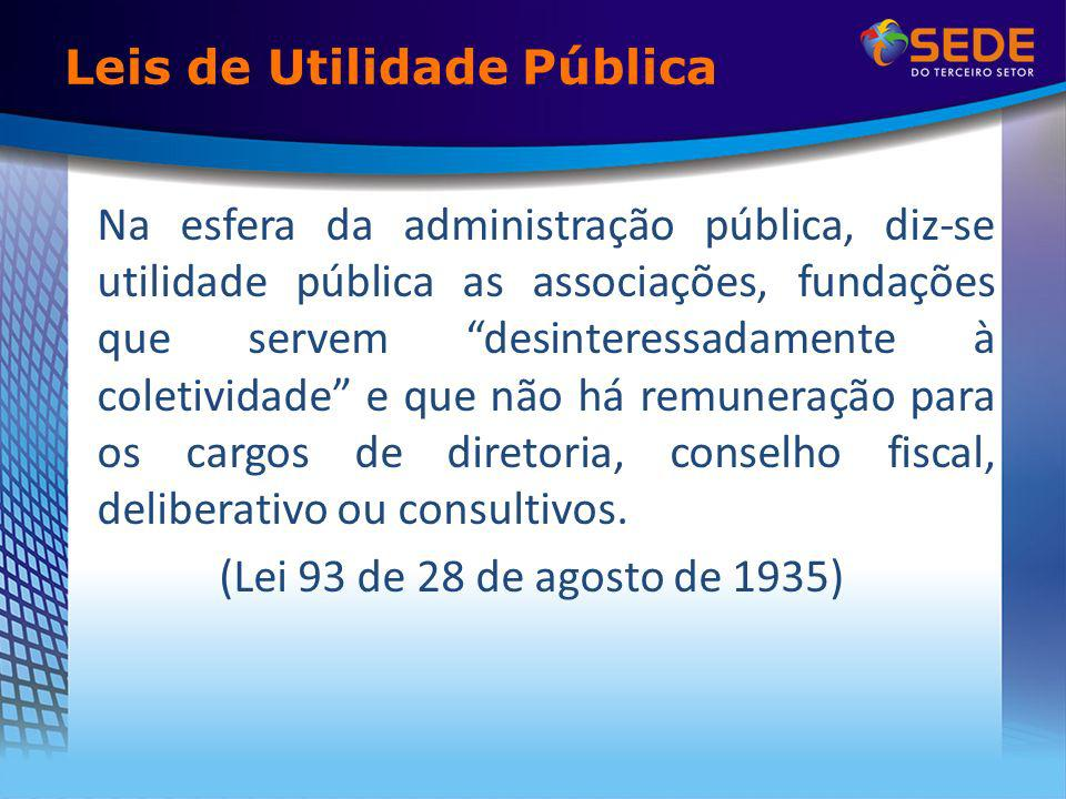 Leis de Utilidade Pública Na esfera da administração pública, diz-se utilidade pública as associações, fundações que servem desinteressadamente à coletividade e que não há remuneração para os cargos de diretoria, conselho fiscal, deliberativo ou consultivos.