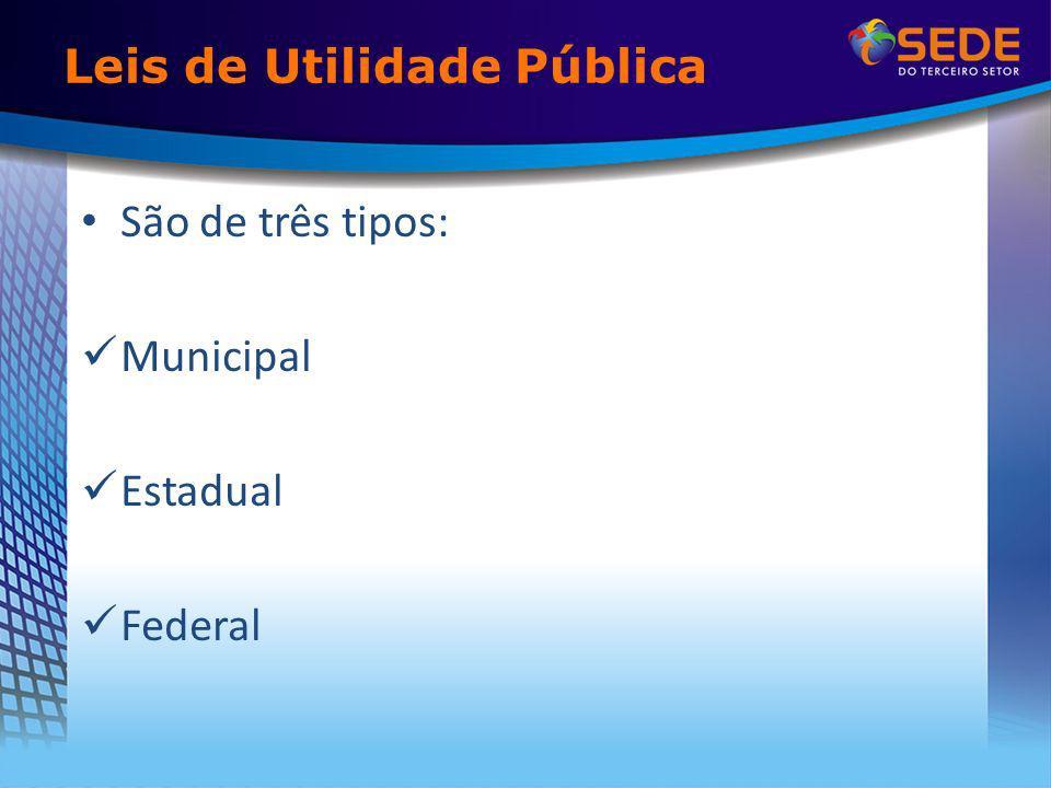 Leis de Utilidade Pública São de três tipos: Municipal Estadual Federal