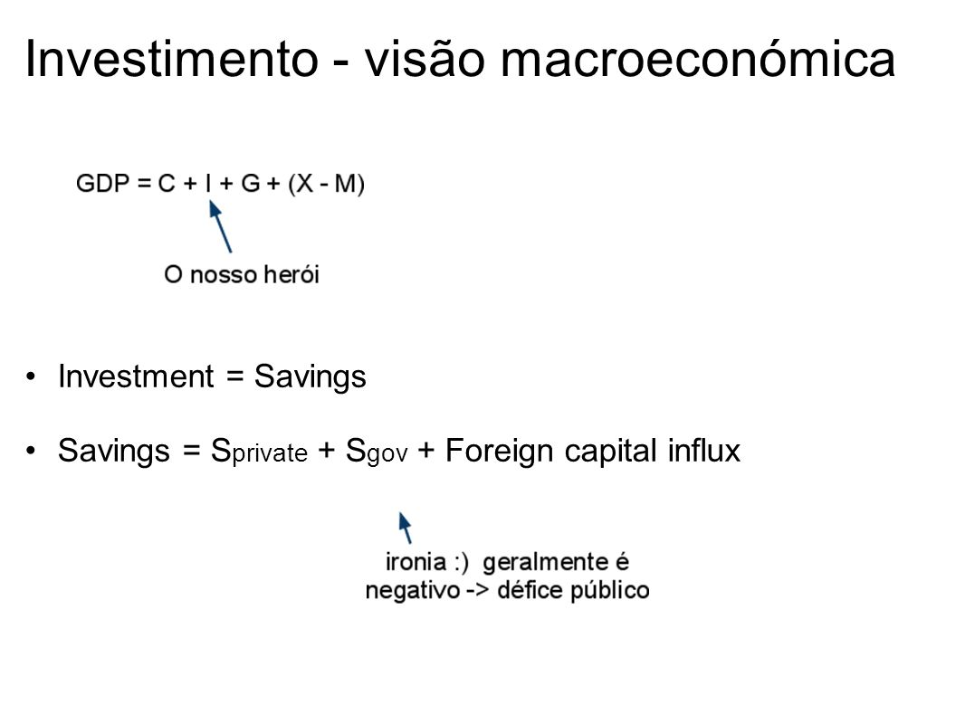 Investimento - visão macroeconómica Investment = Savings Savings = S private + S gov + Foreign capital influx