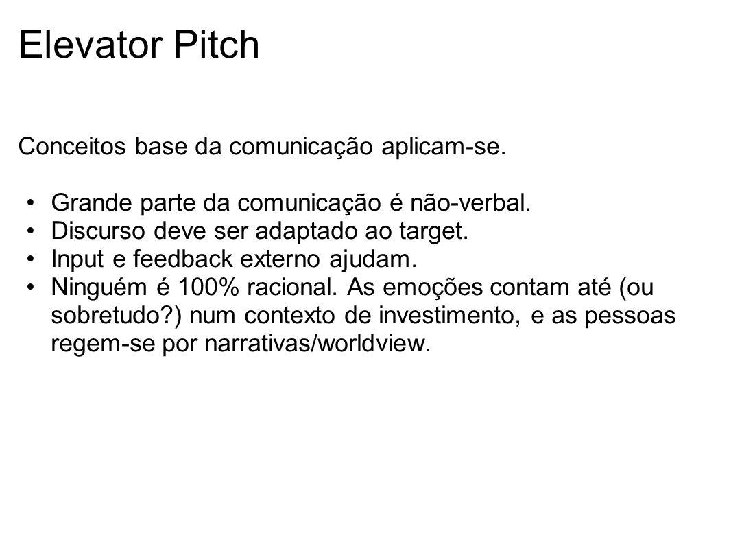 Elevator Pitch Conceitos base da comunicação aplicam-se. Grande parte da comunicação é não-verbal. Discurso deve ser adaptado ao target. Input e feedb