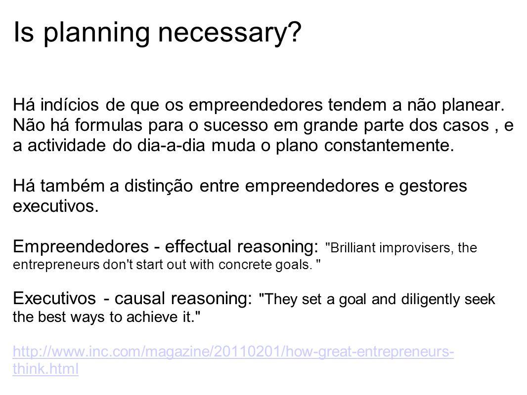 Is planning necessary? Há indícios de que os empreendedores tendem a não planear. Não há formulas para o sucesso em grande parte dos casos, e a activi