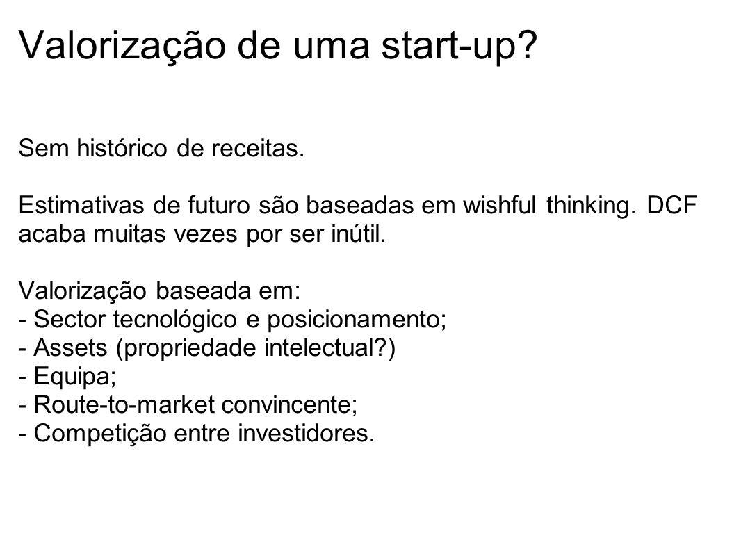 Valorização de uma start-up? Sem histórico de receitas. Estimativas de futuro são baseadas em wishful thinking. DCF acaba muitas vezes por ser inútil.