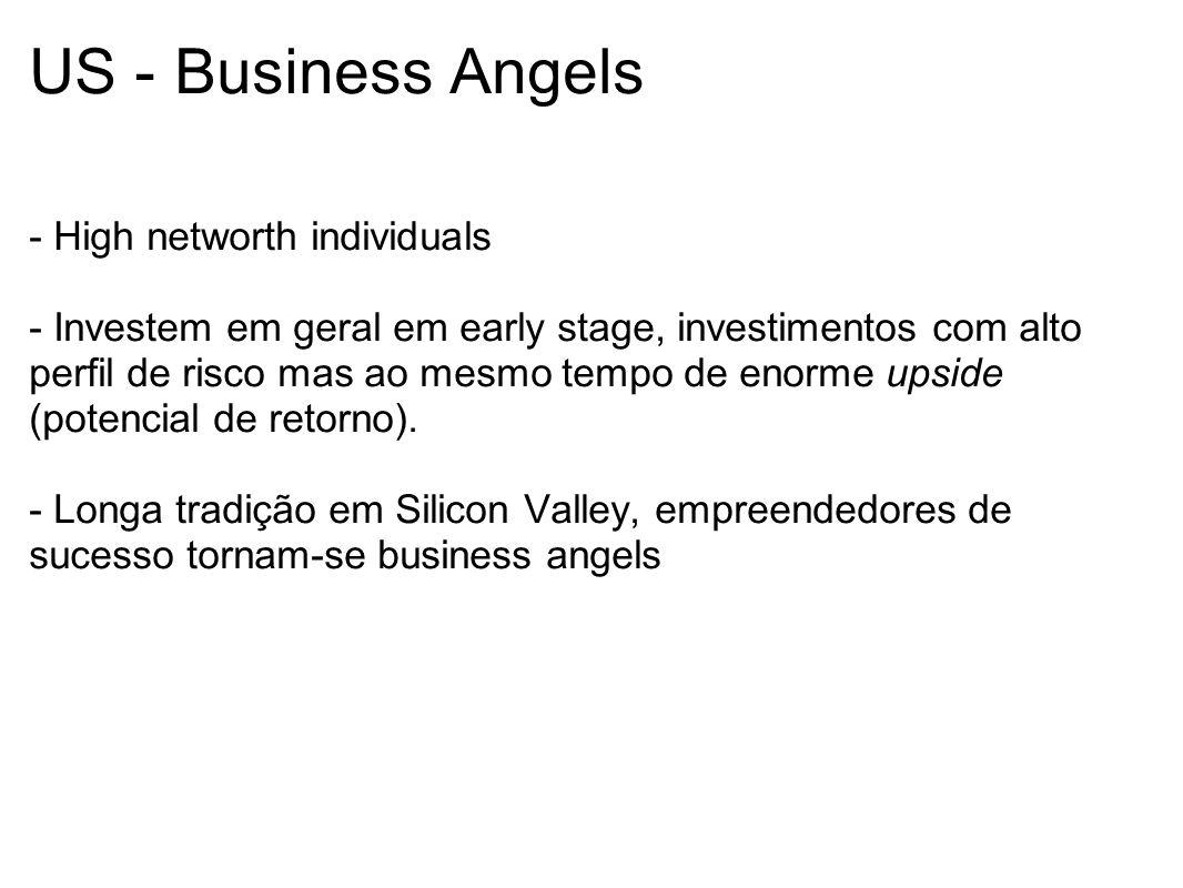 US - Business Angels - High networth individuals - Investem em geral em early stage, investimentos com alto perfil de risco mas ao mesmo tempo de enor