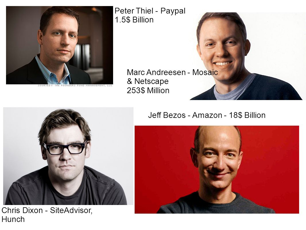 Peter Thiel - Paypal 1.5$ Billion Marc Andreesen - Mosaic & Netscape 253$ Million Chris Dixon - SiteAdvisor, Hunch Jeff Bezos - Amazon - 18$ Billion