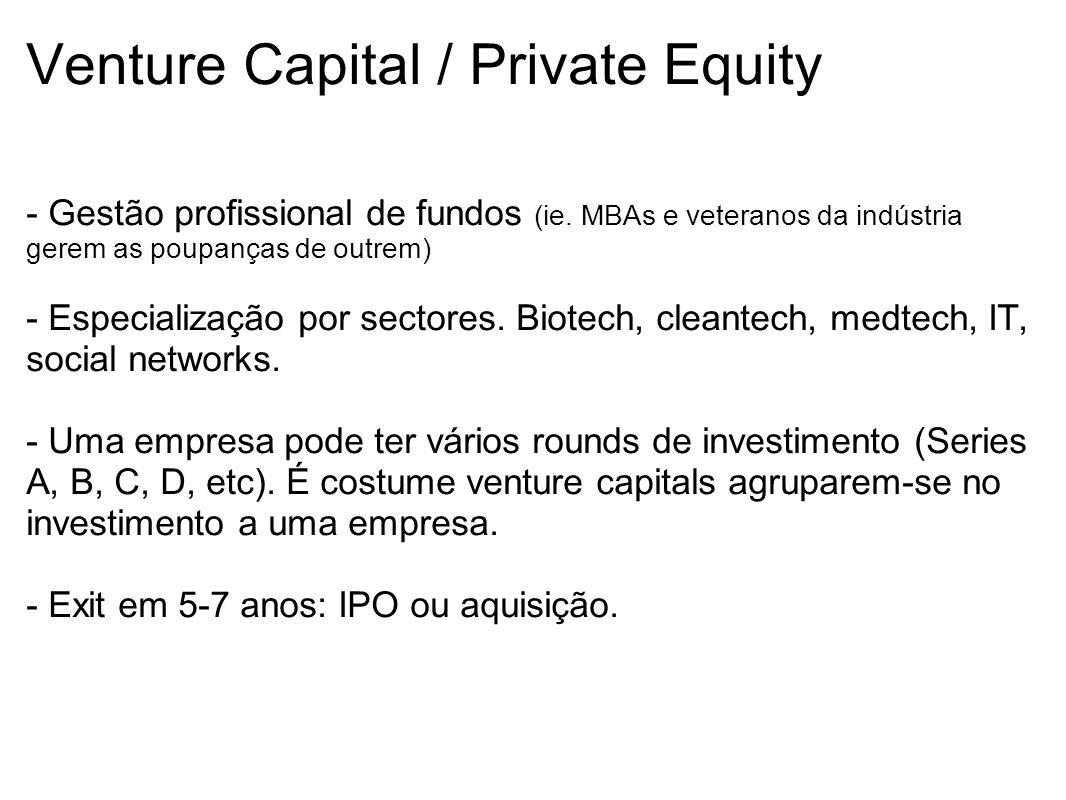 Venture Capital / Private Equity - Gestão profissional de fundos (ie. MBAs e veteranos da indústria gerem as poupanças de outrem) - Especialização por