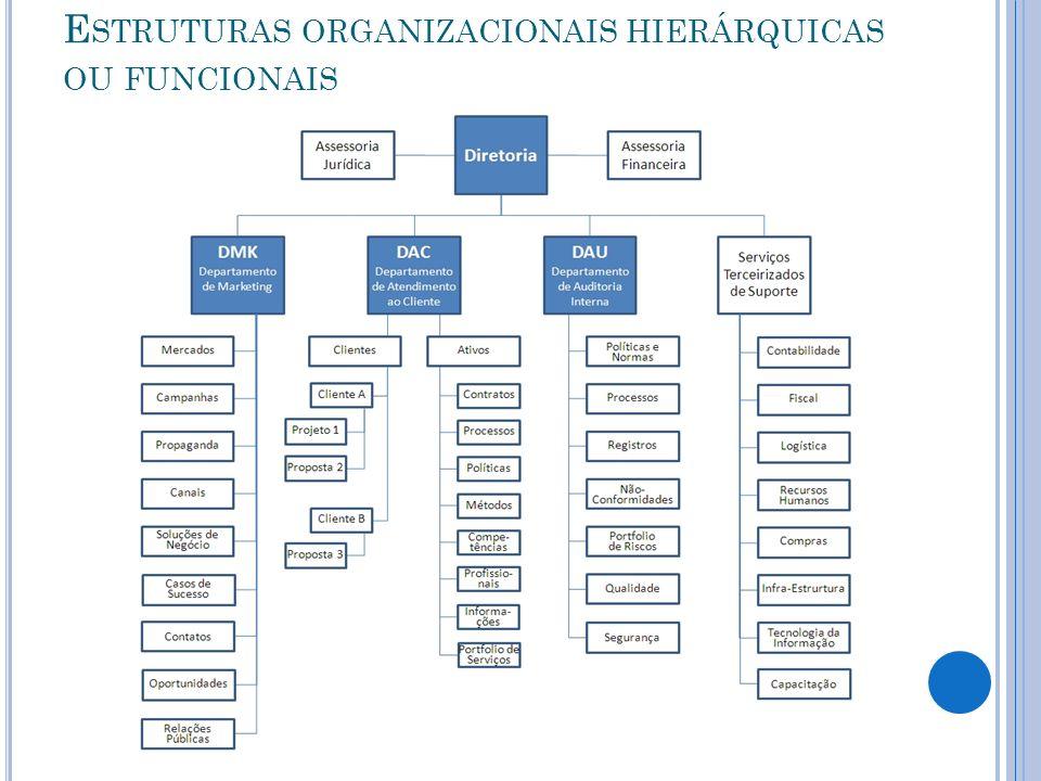 E STRUTURAS ORGANIZACIONAIS HIERÁRQUICAS OU FUNCIONAIS