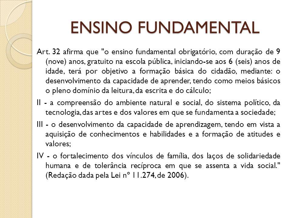 ENSINO FUNDAMENTAL Art. 32 afirma que