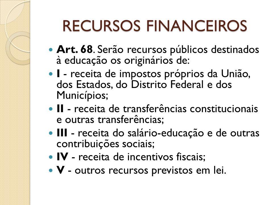 RECURSOS FINANCEIROS Art. 68. Serão recursos públicos destinados à educação os originários de: I - receita de impostos próprios da União, dos Estados,