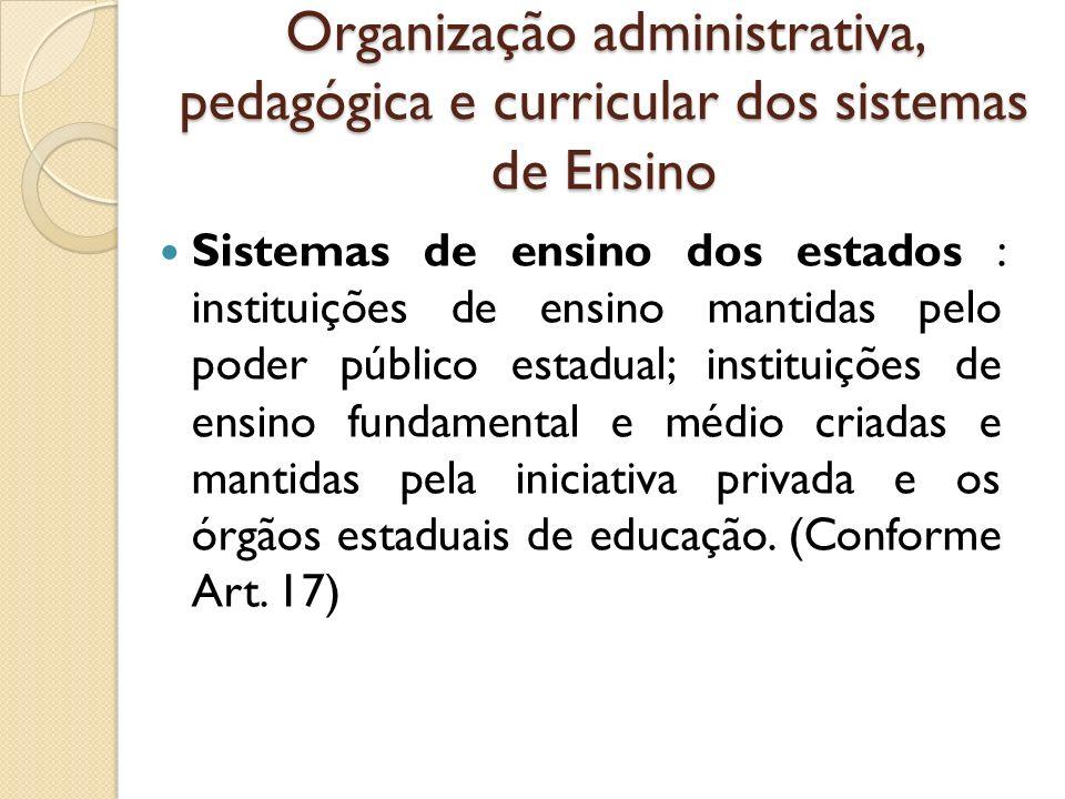 Organização administrativa, pedagógica e curricular dos sistemas de Ensino Sistemas de ensino dos estados : instituições de ensino mantidas pelo poder