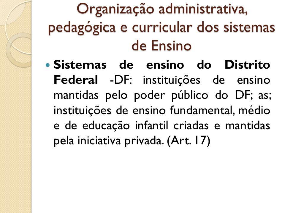 Organização administrativa, pedagógica e curricular dos sistemas de Ensino Sistemas de ensino do Distrito Federal -DF: instituições de ensino mantidas