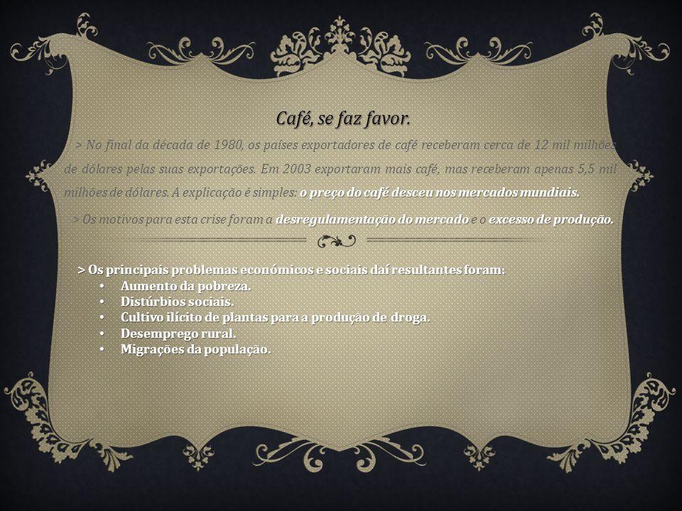 Café, se faz favor. o preço do café desceu nos mercados mundiais. > No final da década de 1980, os países exportadores de café receberam cerca de 12 m