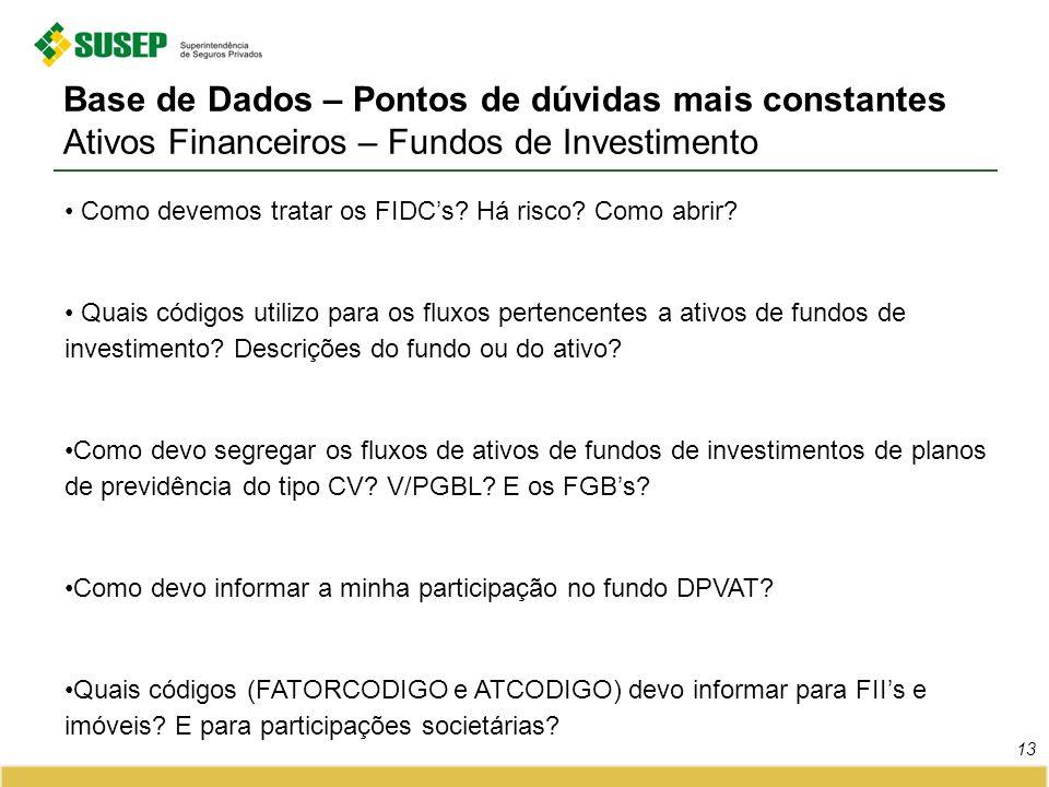 13 Base de Dados – Pontos de dúvidas mais constantes Ativos Financeiros – Fundos de Investimento Como devemos tratar os FIDCs? Há risco? Como abrir? Q