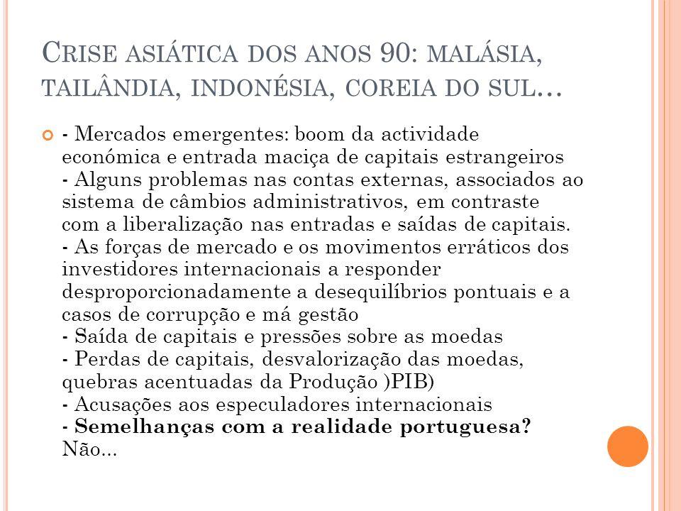 CRISE ECONÓMICA BRASILEIRA (1998) - Depois dos equilíbrios (financeiros, preços) e de crescimento forte do PIB durante os anos 90, o inesperado: uma crise financeira.