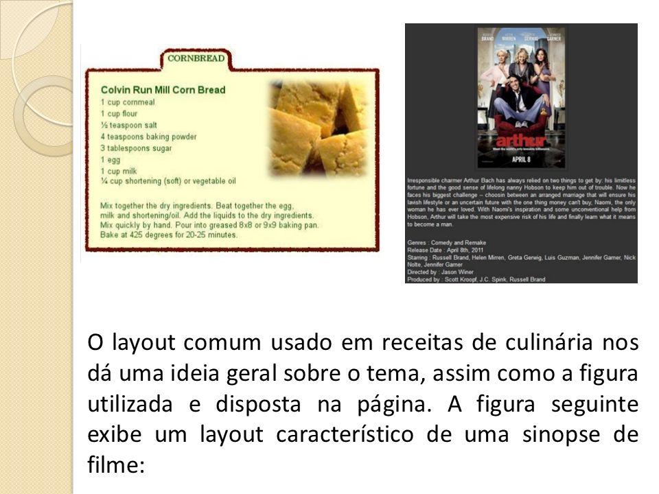 O layout comum usado em receitas de culinária nos dá uma ideia geral sobre o tema, assim como a figura utilizada e disposta na página. A figura seguin