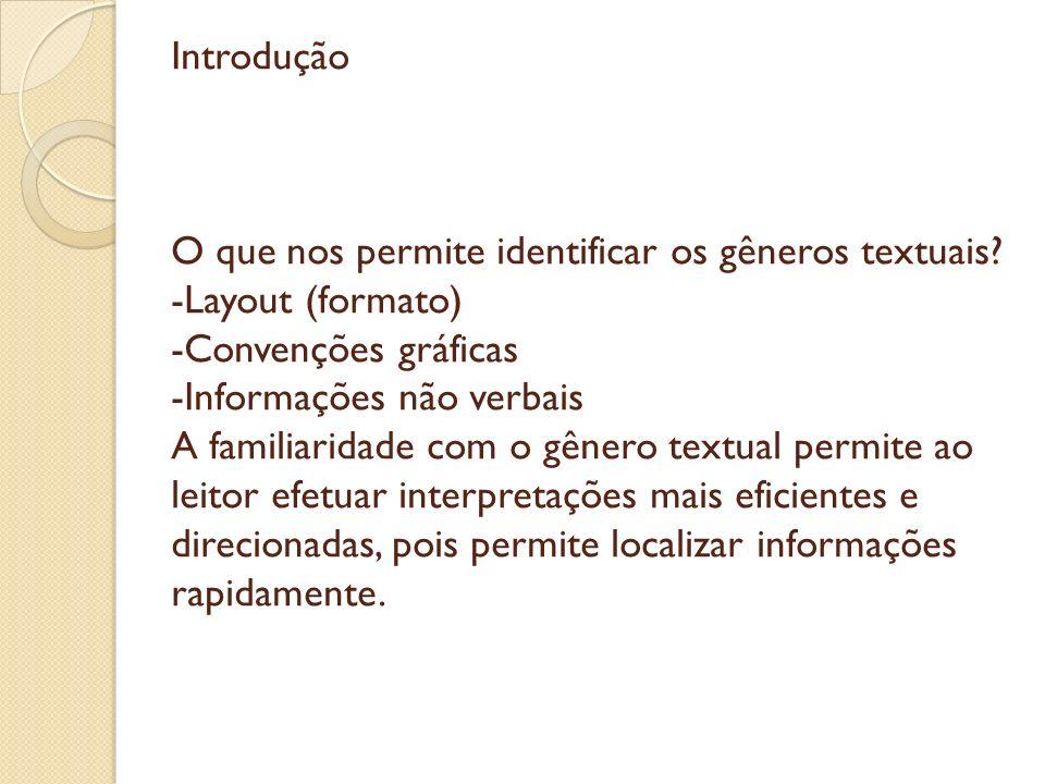 Introdução O que nos permite identificar os gêneros textuais? -Layout (formato) -Convenções gráficas -Informações não verbais A familiaridade com o gê