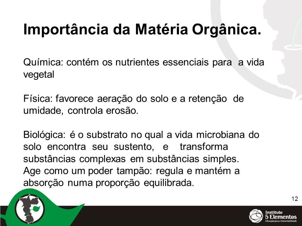 12 Importância da Matéria Orgânica. Química: contém os nutrientes essenciais para a vida vegetal Física: favorece aeração do solo e a retenção de umid