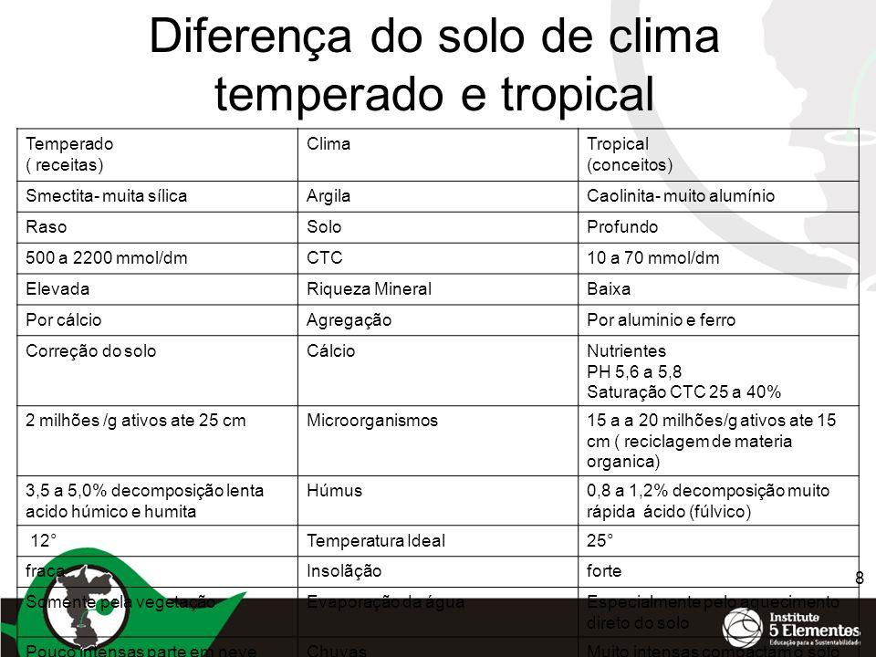 8 Diferença do solo de clima temperado e tropical Temperado ( receitas) ClimaTropical (conceitos) Smectita- muita sílicaArgilaCaolinita- muito alumíni