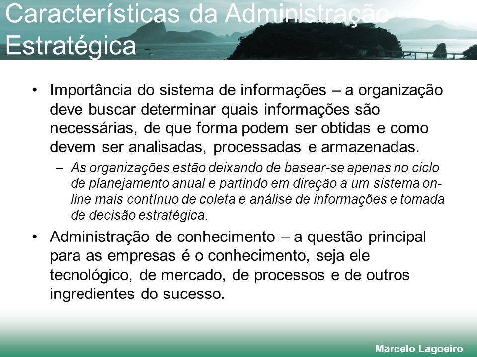 Marcelo Lagoeiro Importância do sistema de informações – a organização deve buscar determinar quais informações são necessárias, de que forma podem ser obtidas e como devem ser analisadas, processadas e armazenadas.
