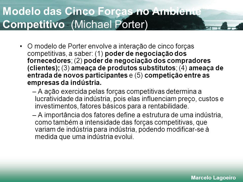 Marcelo Lagoeiro Modelo das Cinco Forças no Ambiente Competitivo (Michael Porter) O modelo de Porter envolve a interação de cinco forças competitivas, a saber: (1) poder de negociação dos fornecedores; (2) poder de negociação dos compradores (clientes); (3) ameaça de produtos substitutos; (4) ameaça de entrada de novos participantes e (5) competição entre as empresas da indústria.