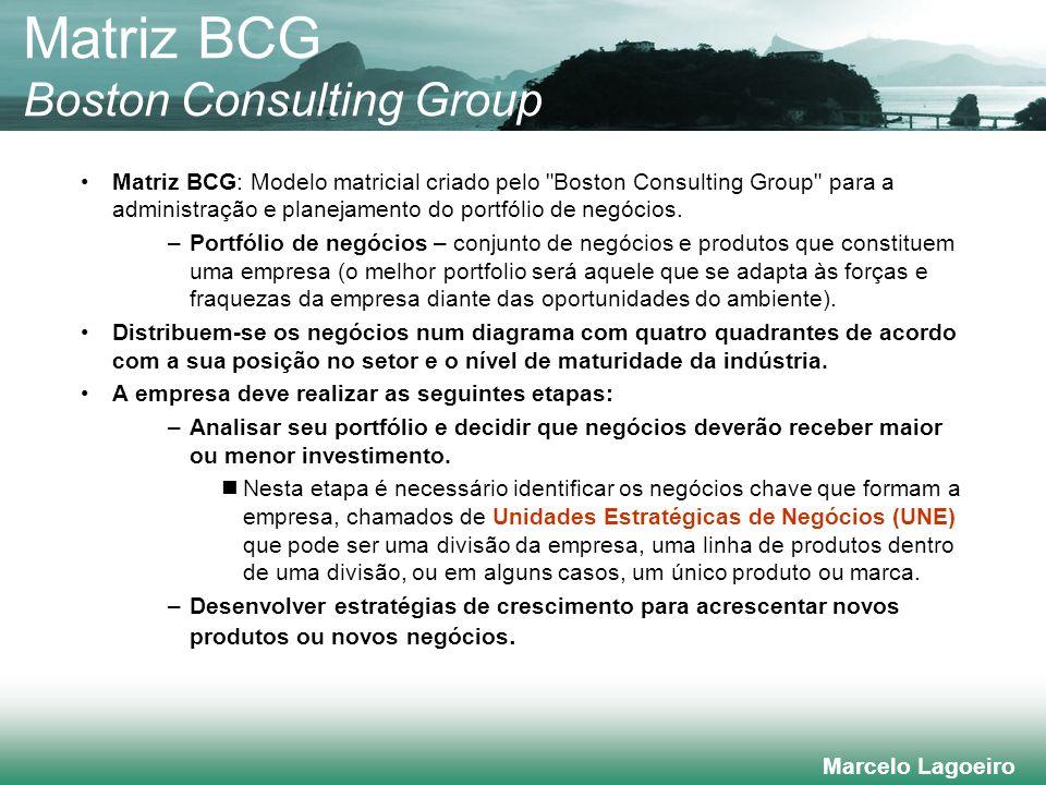 Marcelo Lagoeiro Matriz BCG: Modelo matricial criado pelo Boston Consulting Group para a administração e planejamento do portfólio de negócios.