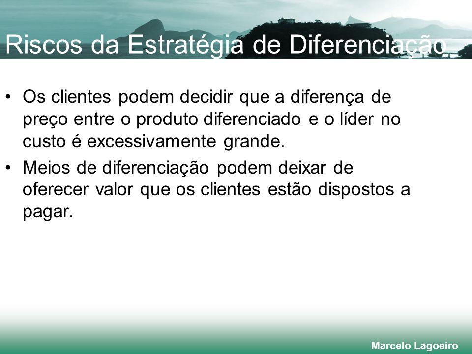 Marcelo Lagoeiro Riscos da Estratégia de Diferenciação Os clientes podem decidir que a diferença de preço entre o produto diferenciado e o líder no custo é excessivamente grande.