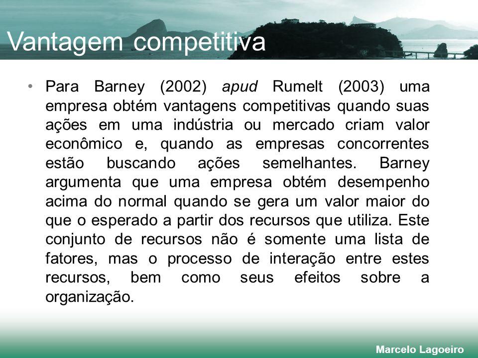 Marcelo Lagoeiro Para Barney (2002) apud Rumelt (2003) uma empresa obtém vantagens competitivas quando suas ações em uma indústria ou mercado criam valor econômico e, quando as empresas concorrentes estão buscando ações semelhantes.