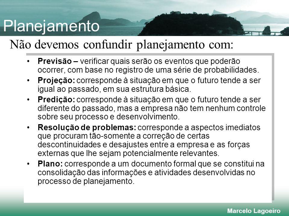 Marcelo Lagoeiro Planejamento Previsão – verificar quais serão os eventos que poderão ocorrer, com base no registro de uma série de probabilidades.