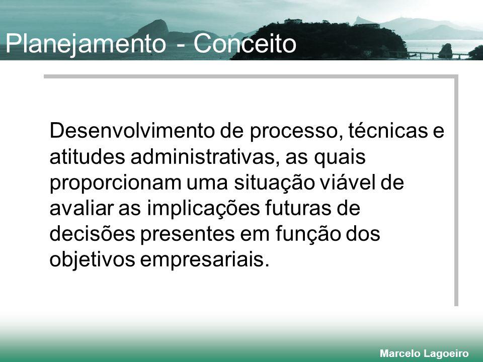 Marcelo Lagoeiro Planejamento - Conceito Desenvolvimento de processo, técnicas e atitudes administrativas, as quais proporcionam uma situação viável de avaliar as implicações futuras de decisões presentes em função dos objetivos empresariais.