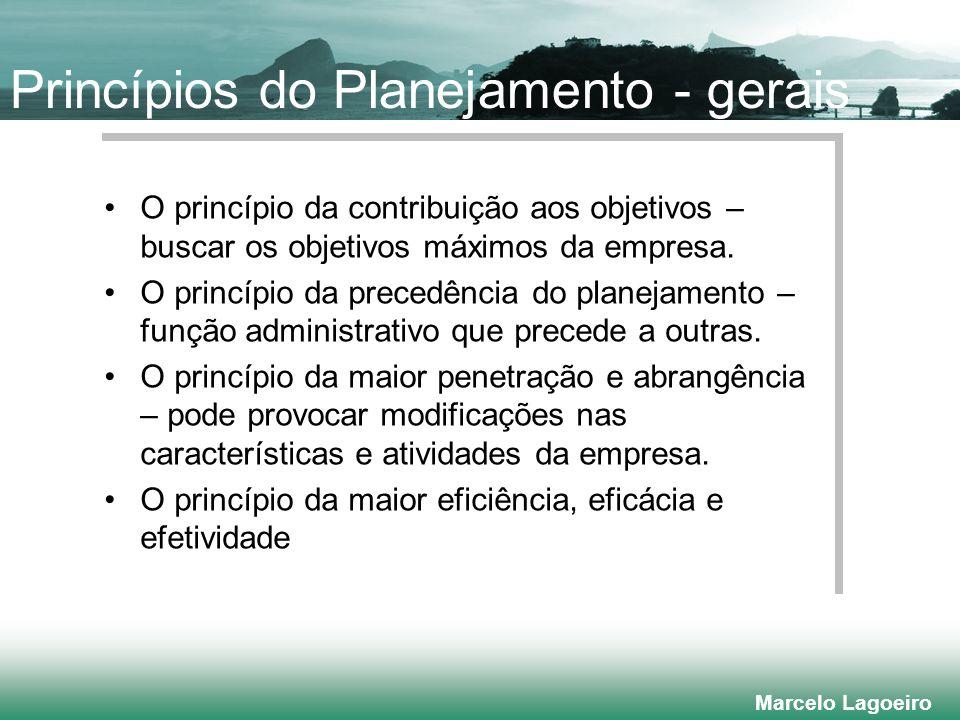 Marcelo Lagoeiro Princípios do Planejamento - gerais O princípio da contribuição aos objetivos – buscar os objetivos máximos da empresa.