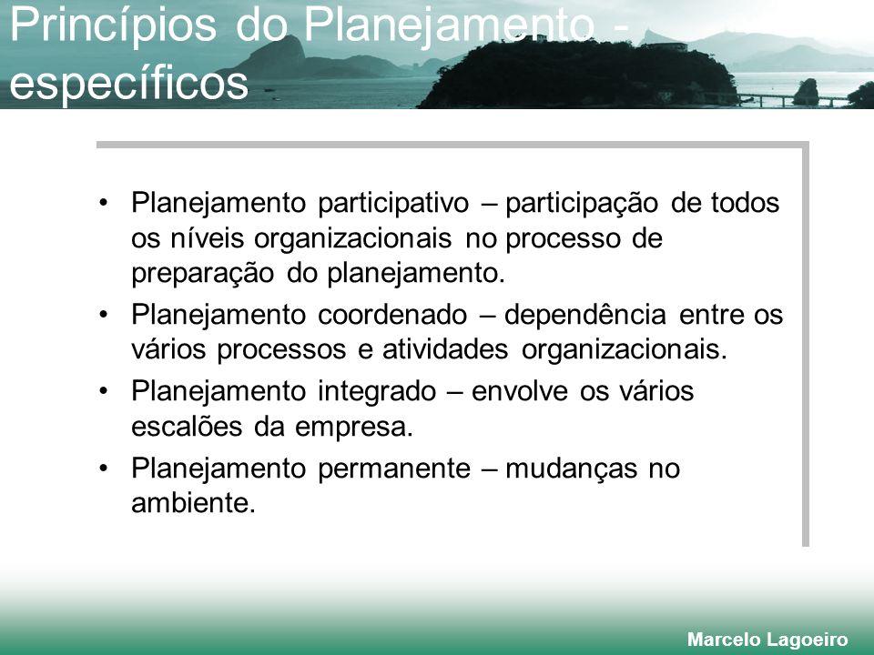 Marcelo Lagoeiro Princípios do Planejamento - específicos Planejamento participativo – participação de todos os níveis organizacionais no processo de preparação do planejamento.