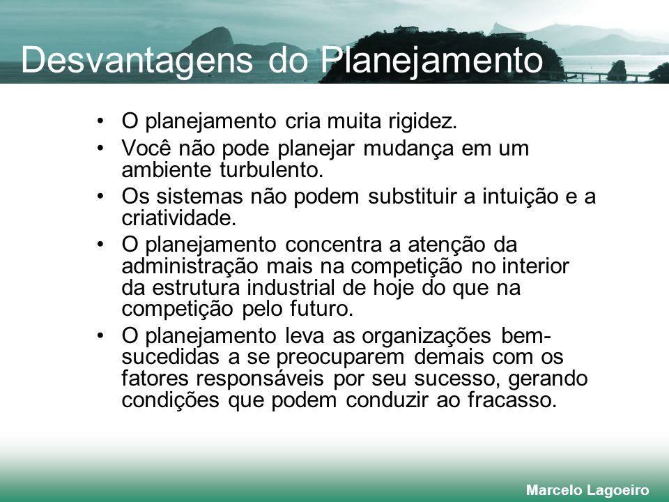 Marcelo Lagoeiro Desvantagens do Planejamento O planejamento cria muita rigidez.