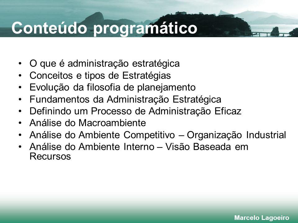 Marcelo Lagoeiro O que é administração estratégica Conceitos e tipos de Estratégias Evolução da filosofia de planejamento Fundamentos da Administração Estratégica Definindo um Processo de Administração Eficaz Análise do Macroambiente Análise do Ambiente Competitivo – Organização Industrial Análise do Ambiente Interno – Visão Baseada em Recursos Conteúdo programático